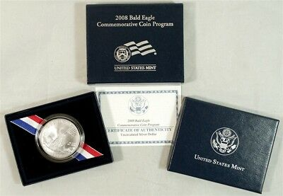 2008-P Bald Eagle Commemorative Uncirculated Silver Dollar in US Mint OGP