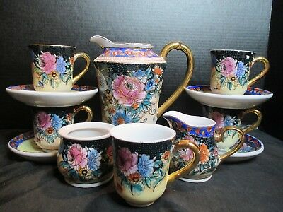 Imperial Nippon Hand Painted Demitasse Chocolate Tea Coffee Service 12 Pieces