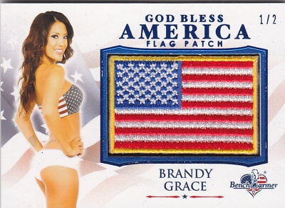 2017 Benchwarmer America The Beautiful Brandy Grace Blue Foil Flag Patch Card /2