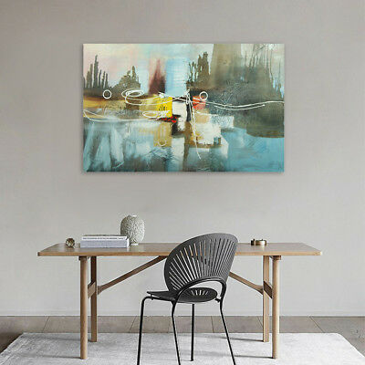 Modern Hand Painted Canvas Abstract Oil Painting Wall Art Home Decor Framed
