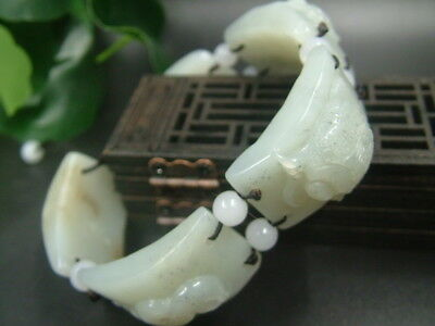 Antique Chinese Celadon Nephrite Hetian- jade bangle FIVE-DU bracele1