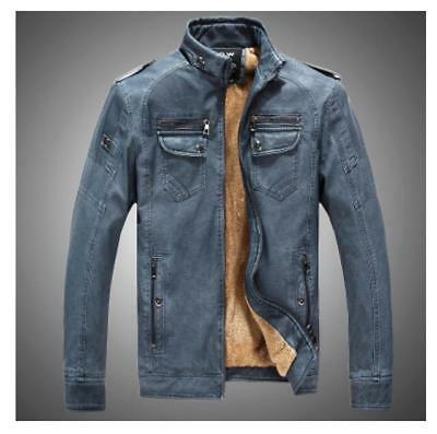 Mens Stand Collar Motorcycle Outwear Leather Jacket Casual Cowboy Parka Coat Sz