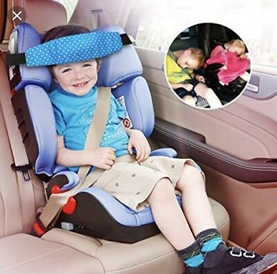 Sungrace Toddler Car Seat Baby Infant Sleeping Head Support Blue W/ Metal Clips