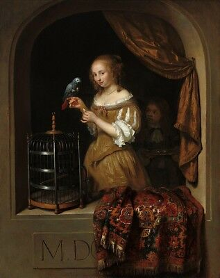 """oil painting handpainted on canvas """"Young woman in a window feeding a parrot"""""""