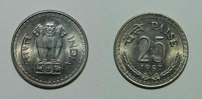 India 25 Paise 1987 - Lustrous High Grade