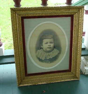"""Charles Wesley Conat Manistee Michigan Portraint Wood Gesso Frame 23x26"""""""