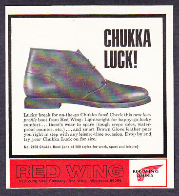 1968 Red Wing Shoes Chukka Boot photo Low Profile vintage print ad