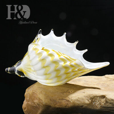 Hand Blown Beige Yellow Seashell, Beautiful Home Decor, Handmade Glass Art Conch