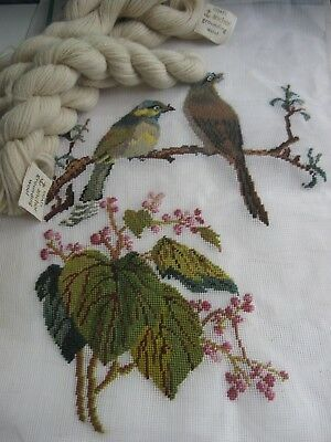 VICTORIA HOUSE worked PETIT POINT TAPESTRY Background wools to complete BIRDS