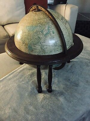 """Vintage 12"""" Cram's Imperial World Globe With Wood Stand"""