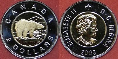 Proof Like 2003W Canada Uncrowned 2 Dollars From Mint's Set