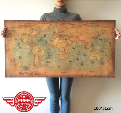 New Navigation Monster Vintage Poster World Map Retro Home Bar Wall Decor Gifts