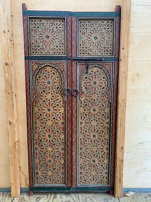 Stunning Set Of Hand Carved And Painted Moroccan Doors