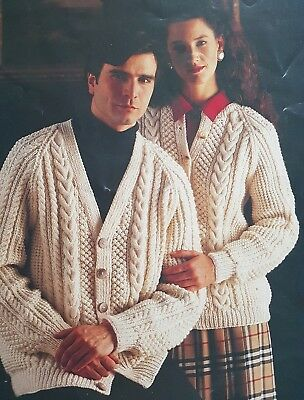 29c878cac KNITTING PATTERN Ladies Mens Aran Cable Cardigan Round or V neck 32 - 44