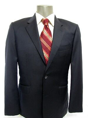 T.M.Lewin Navy Blue Solid Stripe Super 110 Wool Blazer Size 38R