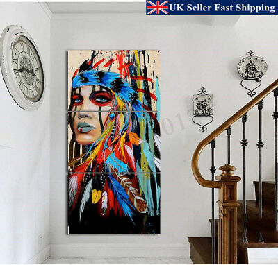 Indian Woman Canvas Painting Modern Abstract Wall Decor Art Printing Unframed UK