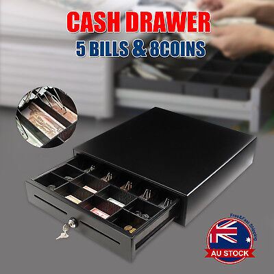 Heavy Duty Electronic Cash Drawer Cash Register POS 5 Bills 8 Coins Tray RJ11 L