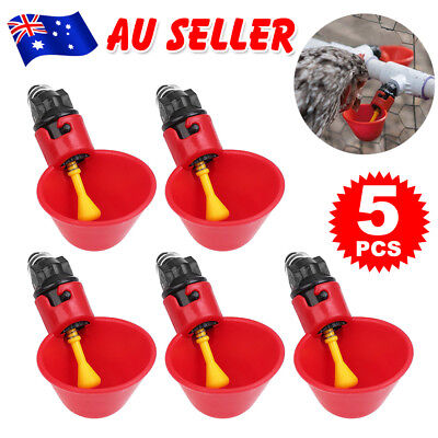 5pcs Automatic Cups Water Feeder Drinker Chicken Waterer Poultry Chook Bird Coop