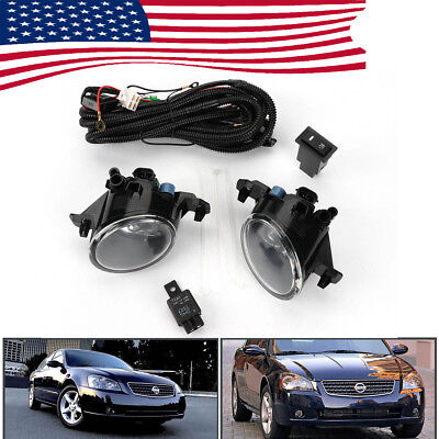 Clear Pair Front Bumper Fog Lights Lamp w/Switch for Nissan Altima JDM 2005-2006