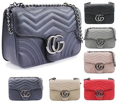 Designer Inspired Leather Quilted Chevron Cross Body Clasp Shoulder Side Bag