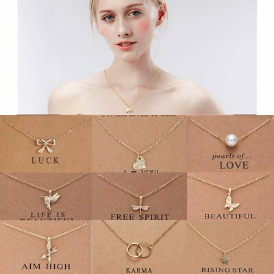 Fashion Women Necklace Pendant Gold/Silver Clavicle Chains Choker Card Jewelry