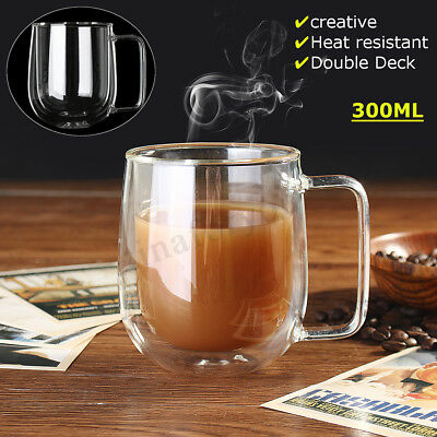 300ml Heat-resistant Clear Glass Cup Coffee Tea Drink Mug Double Layer Handle