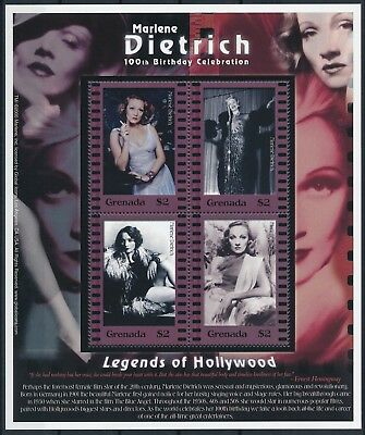 [HG25569] Grenada 2001 MARLENE DIETRICH - Cinema Good sheet very fine MNH