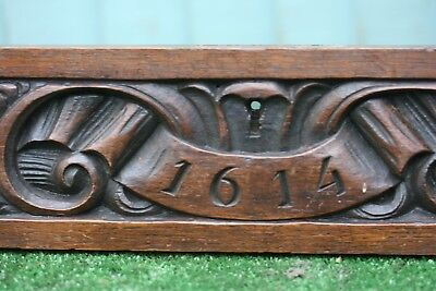 SUPERB 19thC GOTHIC WOODEN OAK PANEL WITH DATE of c1614 & OTHER CARVINGS c1880s