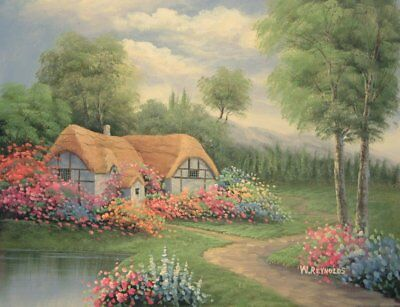 """16""""x12"""" Oil Painting on Canvas, Country Cottage, Genuine Hand Painted"""