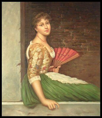 """24""""x20"""" Oil Painting on Canvas, Young Lady with a Fan, Genuine Hand Painted"""