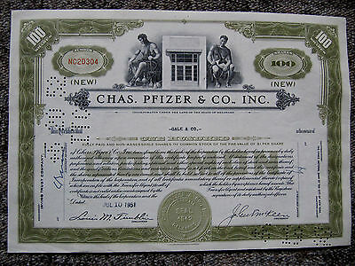 """Chas. Pfizer & Co., Inc."", olivgrüne Variation, ""100 Shares"""
