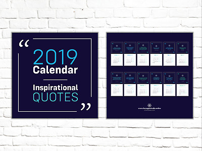 2019 Wall Calendar with Inspirational and Motivational Quotes 297 x 297 mm navy
