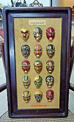 Antique Vintage Chinese Miniature Face Painted Opera Masks 15 Masks On Picture