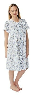 Ladies button front opening nightwear dressing gowns floral print short sleeves