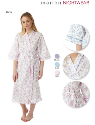 Ladies  cotton  wrap over dressing gowns floral print 3/4 sleeves with pockets