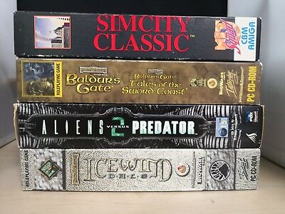 4 Big Box PC Games Sim City Classic  Baldur's Gate AVP 2 Icewind Dale #25B