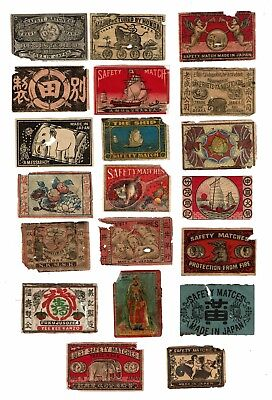 20 Old Japan c.1900s all damaged matchbox labels various themes.