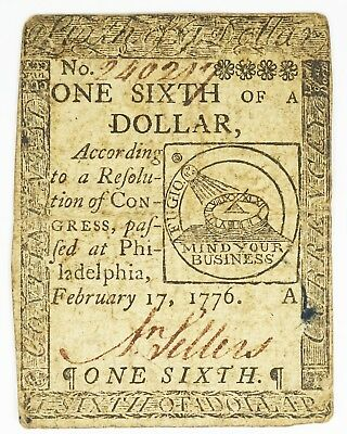 1776 Philadelphia, Pa. One Sixth Of A Dollar Colonial Currency Note