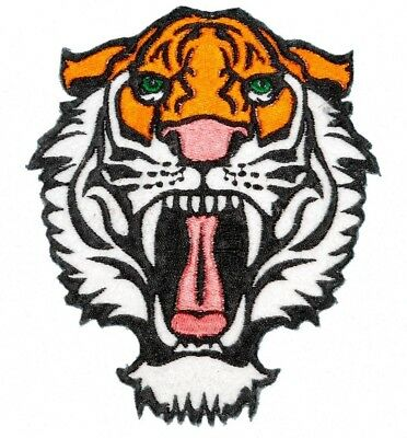 ROARING BENGAL TIGER iron-on PATCH embroidered WILD ANIMAL SOUVENIR APPLIQUE 4X5