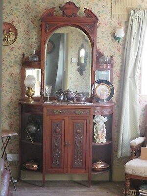 Carved Victorian Mahogany Mirror Back Display Cabinet Ornate Cocktail Cupboard