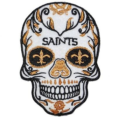 Lot Of (1) Nfl New Orleans Saints Sugar Skull Patch  Iron-On Team Logo (Large)