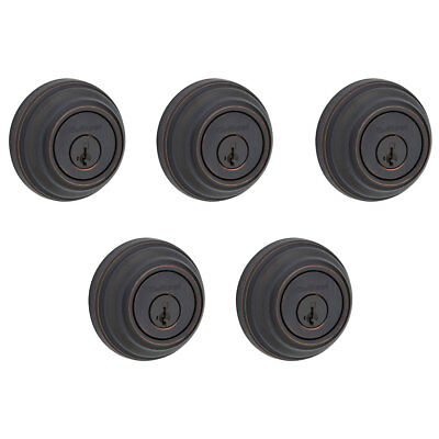 Kwikset 985 Series Double Cylinder Keyed Deadbolt, Venetian Bronze (5 Pack)