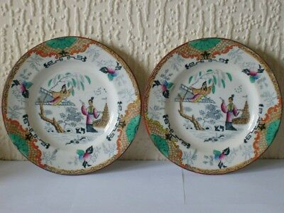 A Pair Of Antique Scottish J Thompson & Sons Clyde Pottery Polychrome Plates VGC