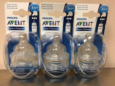 Lot of 6 Philips Avent 3M+ Classic+ Plus Medium Flow Anti Colic Bottle Nipples