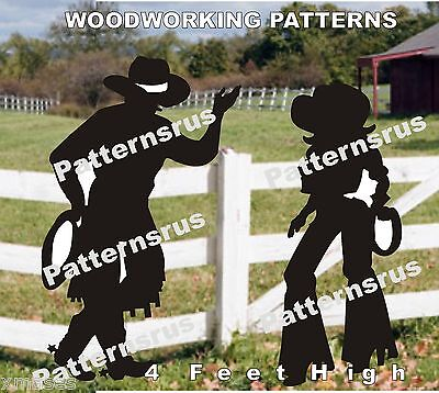 Leaning Cowboy Cowgirl Silhouette Woodworking Pattern Plan 2 In