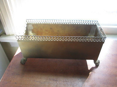 Vintage Brass Rectangular Decorative Box w Lion Head Handles & Paws 3304