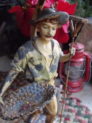 Gorgeous Vintage Cast Metal Lamp Farmer With Rake & Basket Shabby Paint Berger