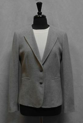 B0 Auth MAX MARA Made In Italy Grey Cashmere Two Button Blazer Jacket Size 14