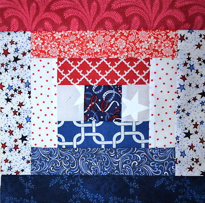 """QUILT BLOCKS-Courthouse-Prints of Red, White and Blue,11"""" SQ.HANDMADE IN USA"""