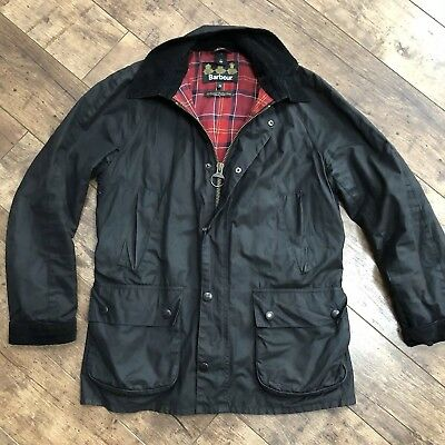 Men's Barbour Black Khaki Wax Jacket Medium